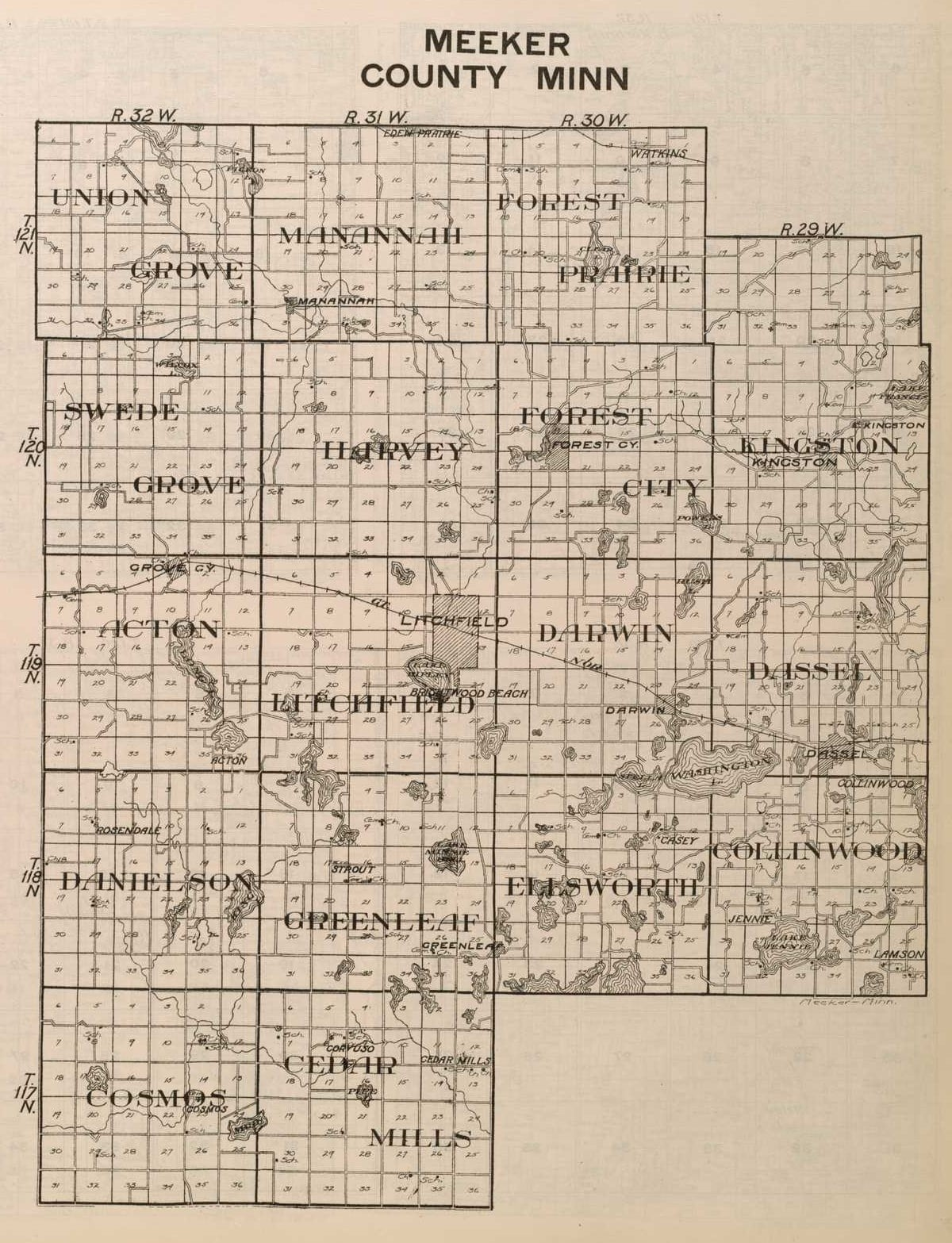 1916 Map of Meeker County MN